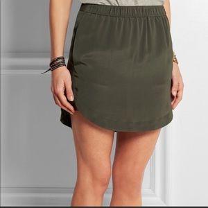 Madewell | Green Elin Washed-Silk Mini Skirt